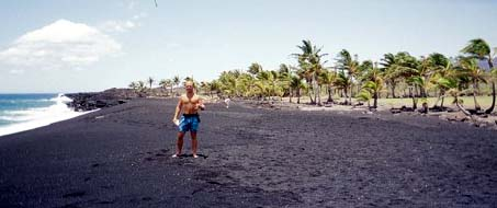 ...on a new, blacksand beach, Big Island