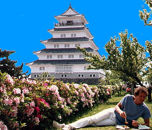roomie relaxing during tour of Shimabara castle
